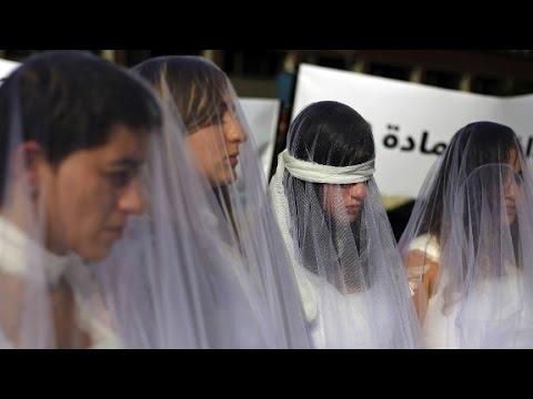 Bloodied brides protest ancient rape law