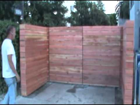 Rough Redwood Horizontal Wood Driveway Gates And Fence.Mpg - Youtube
