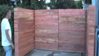 Rough Redwood Horizontal Wood Driveway Gates and Fence