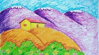 easy scenery drawing with color