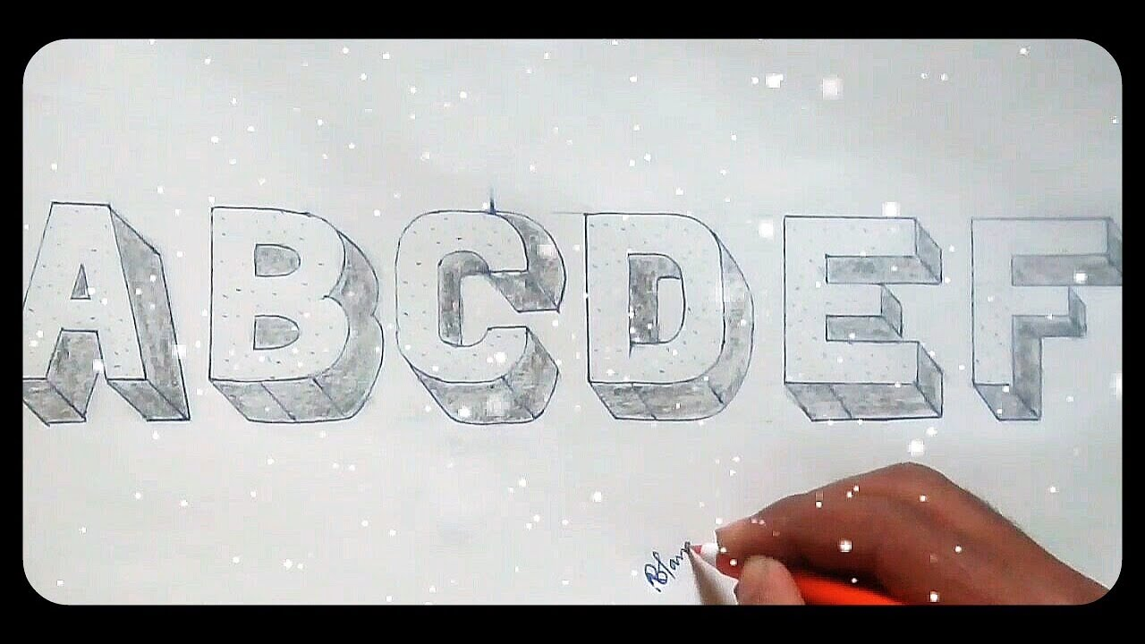 Very Simple And Easy How To Drawing 3d Floating Letter A To Z Part 1