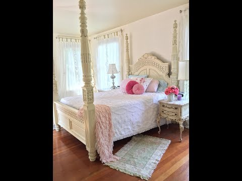 My Romantic Shabby Chic Bedroom Tour created with Thrift Store finds!