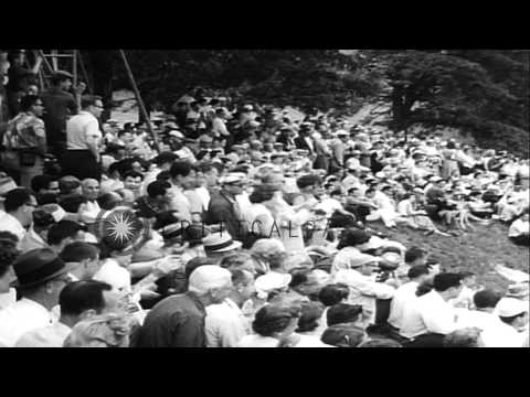 Sam Snead, Ben Hogan and Doug Ford play golf on golf course for Goodall Palm Beac...HD Stock Footage