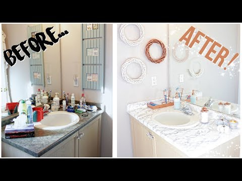 DIY BATHROOM MAKEOVER FOR 30$ | Marble + Rose Gold