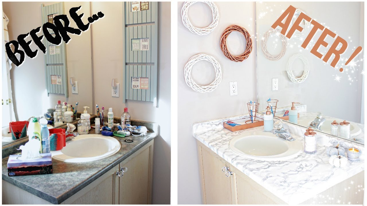 DIY BATHROOM MAKEOVER FOR 30  Marble  Rose Gold  YouTube
