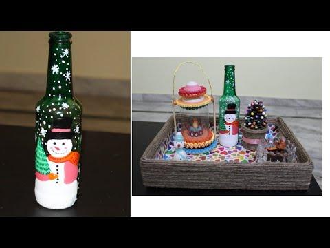 Diy Christmas Bottle Art Christmas Special Diy Wine Bottle Painting Youtube