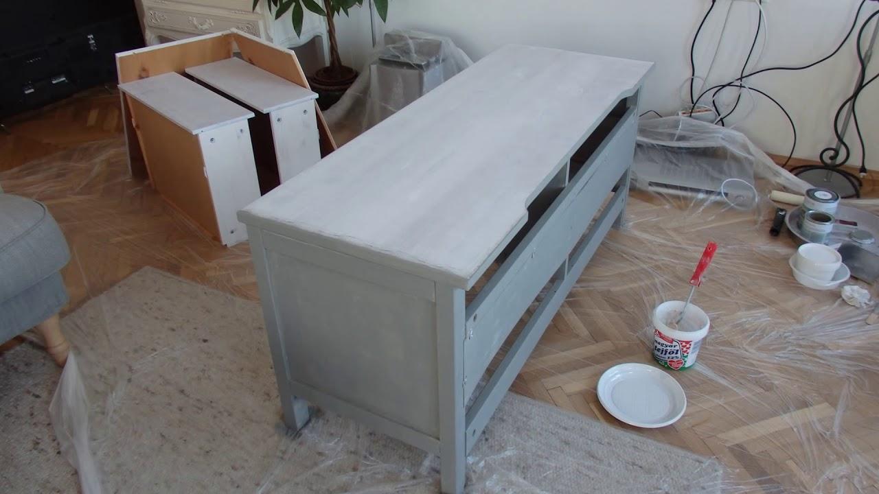 Ikea Hemnes Tv Szekreny Atfestese Lignocolor Kretafestekkel Youtube
