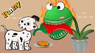 Dogs Cartoons for Children - Dogs and Carnivorous Plant - Funny Animals Cartoons Compilation