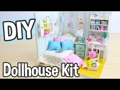 DIY Miniature Dollhouse Kit Bedroom Roombox with Working Lig