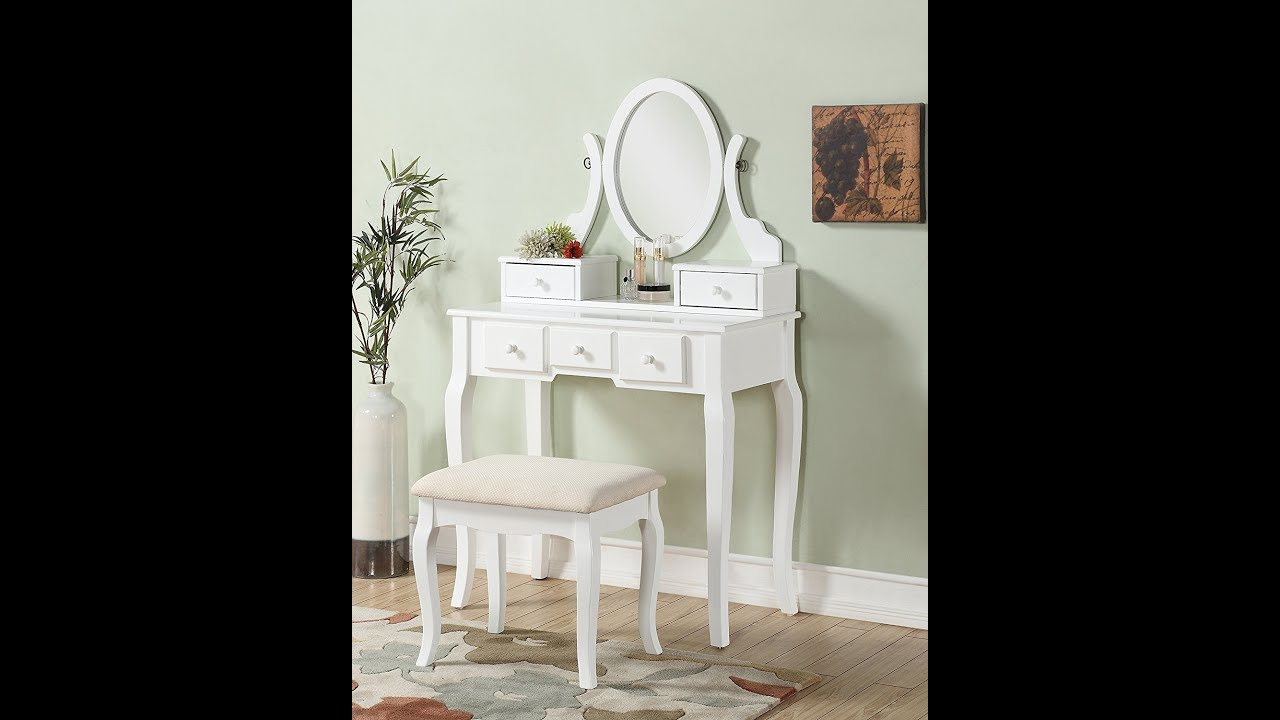 Roundhill Furniture Ashley Wood Make Up Vanity Table And Stool Set