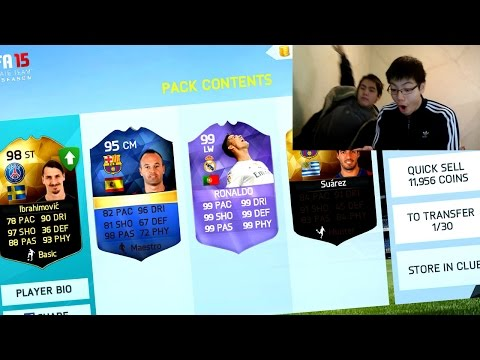 IF 98 IBRA + PURPLE RONALDO! OMFG SO MANY PURPLES! IN A 7.5K PACK!! FIFA 15/16 NS/IOS PACK OPENING