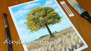 갈대밭이 있는 나무 풍경┃아크릴화 나무 그림그리기┃Ac…