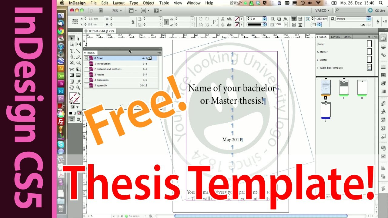 Indesign Template for your Master, Bachelor or Honors Thesis (Part ...