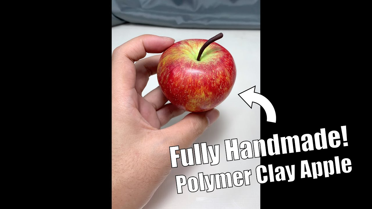 An Apple made from polymer clay, sculpture timelapse【Clay Artisan JAY】#Shorts