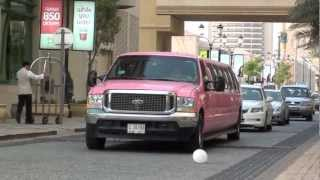 pink Ford Exhibition Stretch Limo - JBR The Walk Dubai Marina