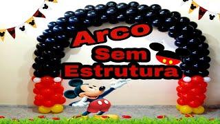 #arcodebaloesmickey Como Fazer Arco de Balões  Redondo sem Estrutura /Canal juju oliveira