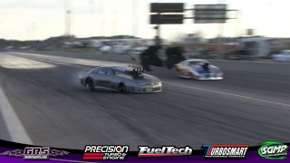 Steve Jackson  3.83 @ 197 MPH (W) Accident! 3rd Round Elimination Radial Vs The World Light Out 8 !!