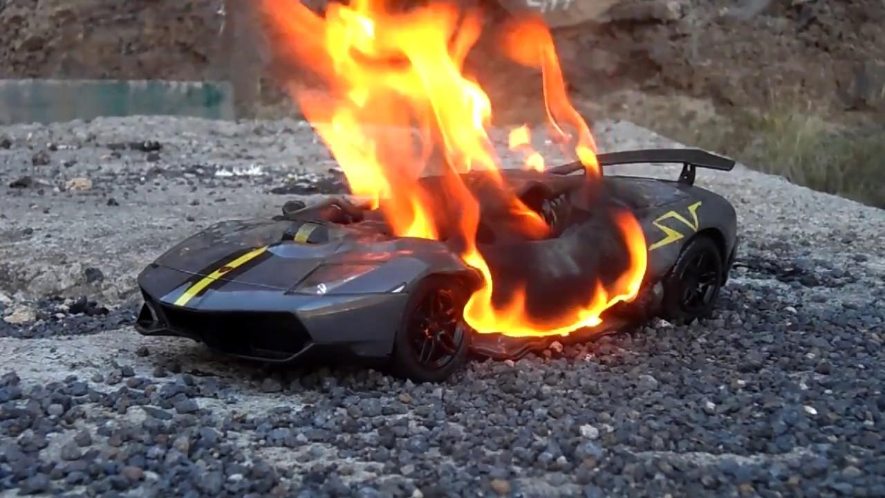 fire toy car lamborghini gallardo lp 570-4 quemando coche de juguete