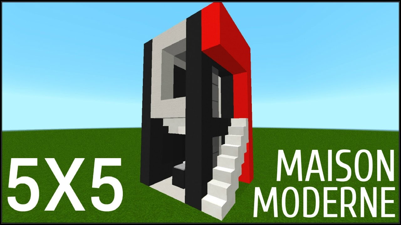 minecraft tuto comment construire une maison moderne 5x5 youtube. Black Bedroom Furniture Sets. Home Design Ideas