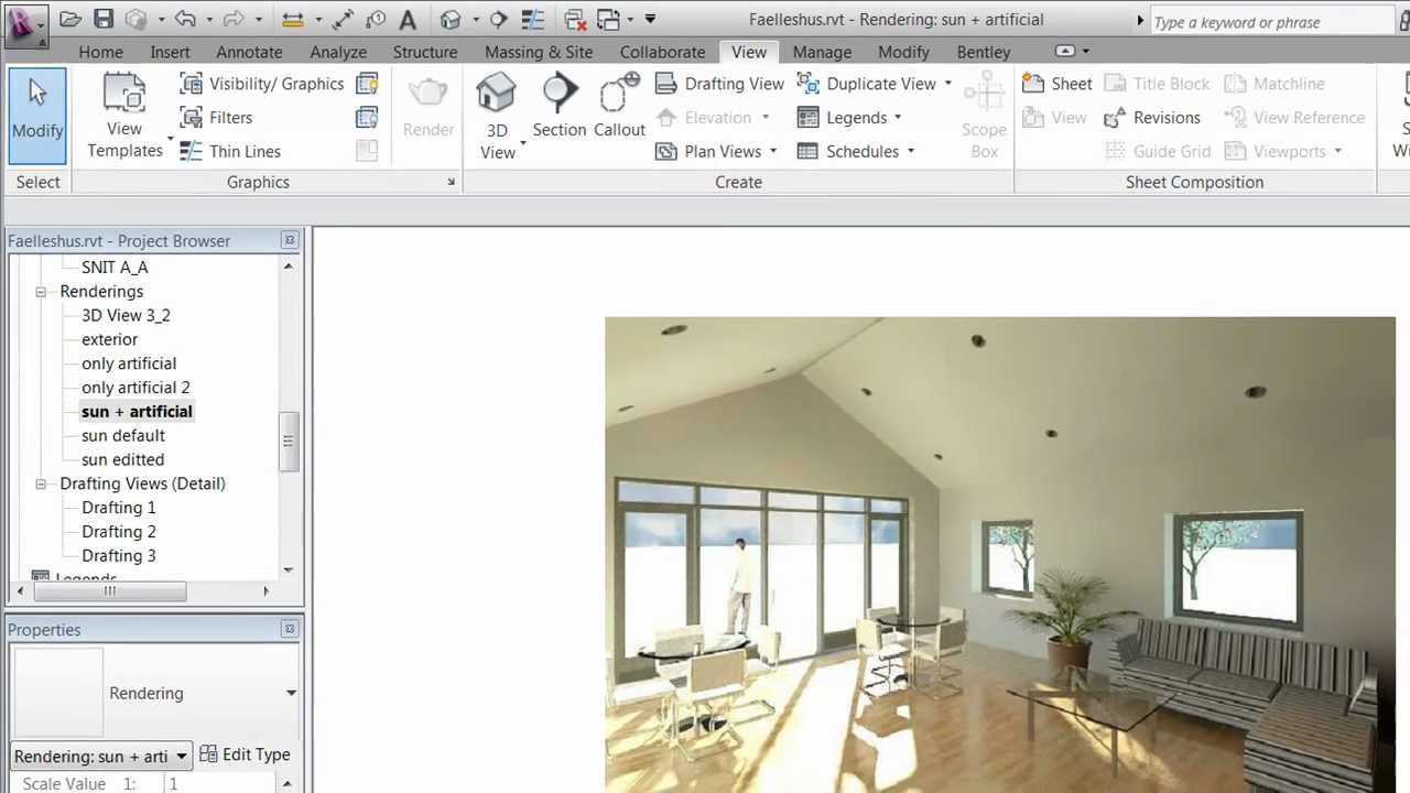 Revit 2012 rendering part 3 interior lighting - Revit exterior rendering settings ...