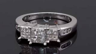 1 ct t w diamond past present future princess cut 14k white gold three stone ring