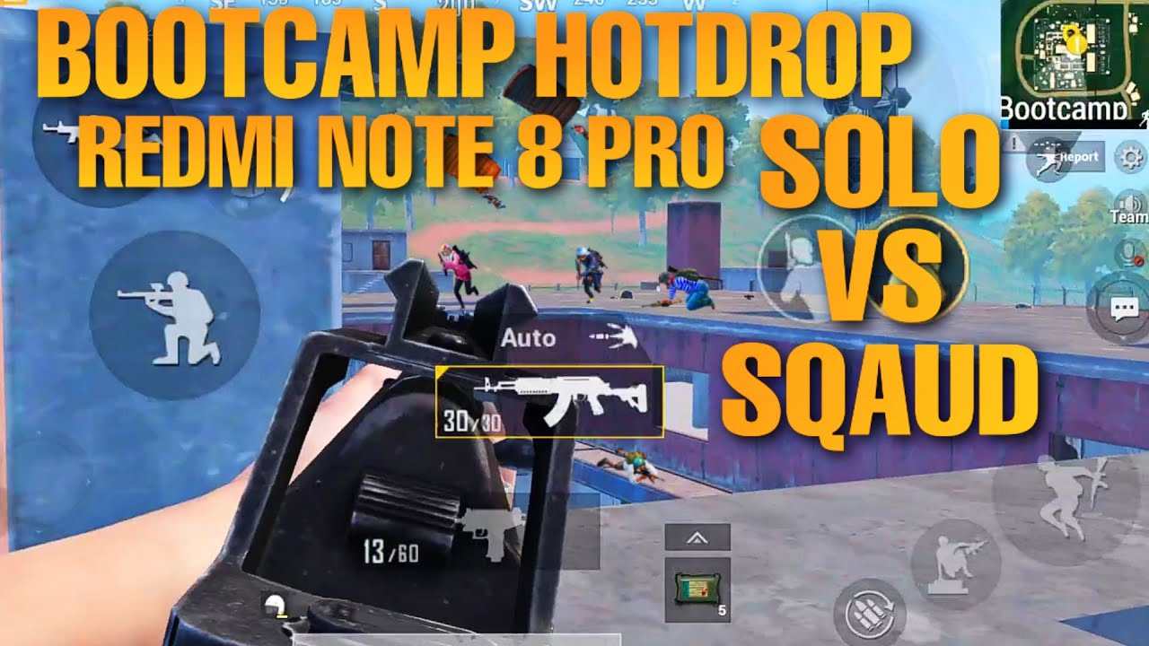 REDMI NOTE 8 PRO PUBG || HOTDROP BOOTCAMP  TEST SMOOTH + EXTREME || SOLO VS SQAUD GAMEPLAY ||
