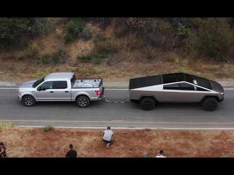 Tesla Cyber Truck Pulling (vs) Ford f-150 truck up hill ...