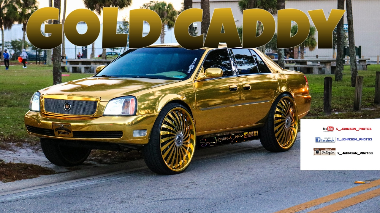 Gold Cadillac On 30 Inch Dub Wheels In Hd Must See Youtube