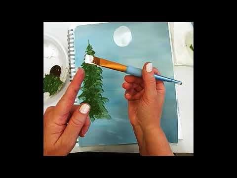 EASY How-To Paint Pine Trees with acrylic paint