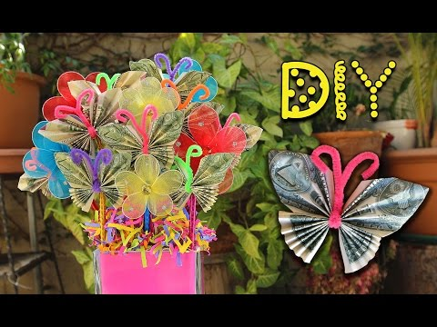DIY Dollar Bill Butterfly Bouquet - Pinterest Inspired || Lucykiins