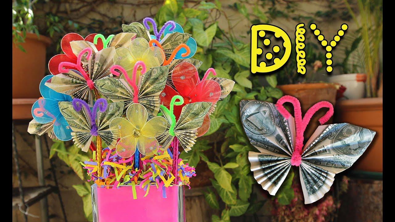 DIY Dollar Bill Butterfly Bouquet