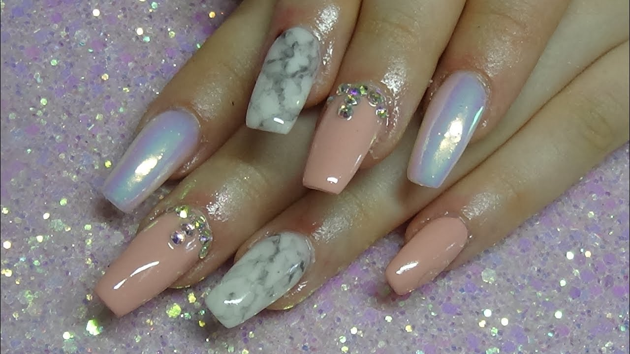 Acrylic nails with marble disign & unicorn powder - YouTube