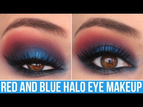 BLUE PATRIOTIC GLAM HALO EYE MAKEUP TUTORIAL