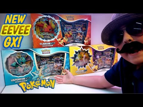 NEW POKEMON CARD EEVEELUTION GX BOXES!! OPENING THE VAPOREON SPECIAL COLLECTION BOX! TRIPLE BATTLE!