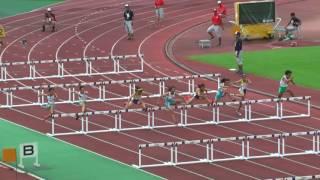 共通女子100mH(0.762m) 決 勝 1組 (風 +1.5) 8月8日 1着 5レーン 13.62 GR ...