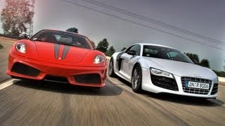 2010 Audi R8 5.2 V10 FSI Quattro vs. 2009 Ferrari 430 Scuderia - CAR and DRIVER