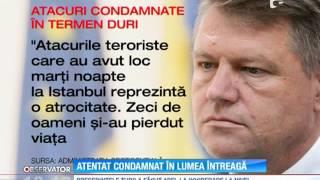 Atentatele de la Istanbul: Mesaj de condoleanţe transmis de preşedintele României