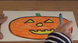 How to Draw a Halloween Jack-o-lantern - KIDS Learn the SHAPES