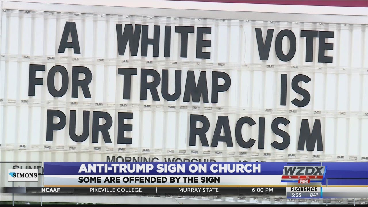 Alabama church sign says black people who vote for Trump