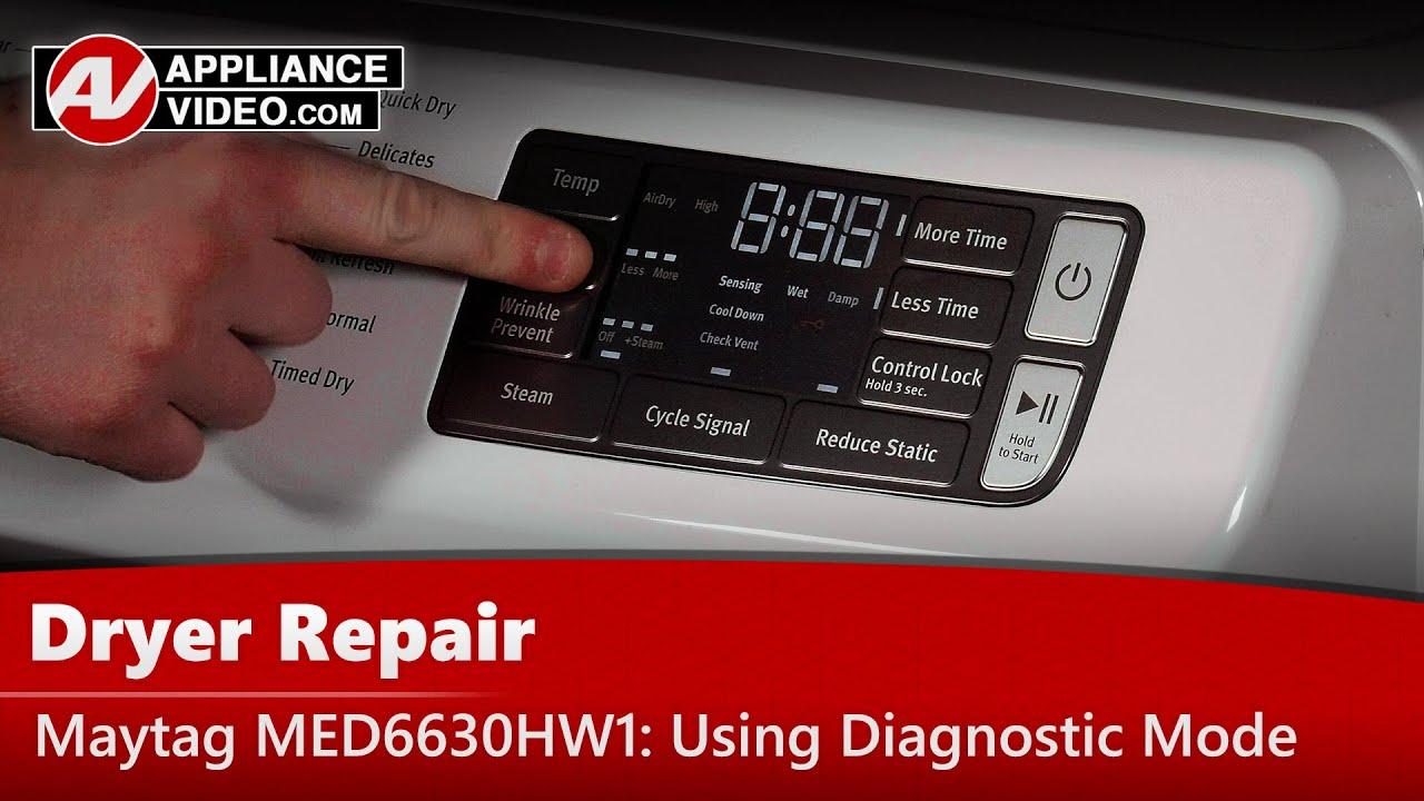Maytag Med6630hw1 Dryer Diagnostic Mode Appliance Video