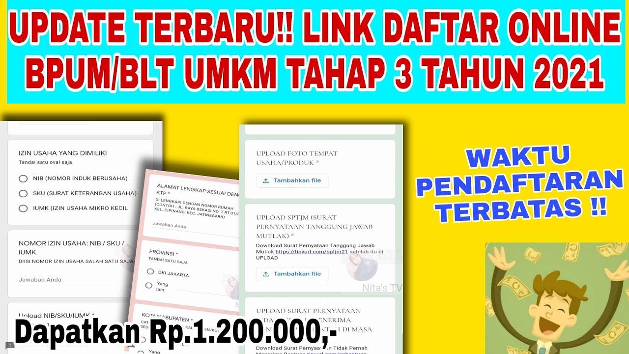 Update Link Daftar Online Bpum Blt Umkm Tahap 3 Tahun 2021 Dapat 1 2 Juta Youtube