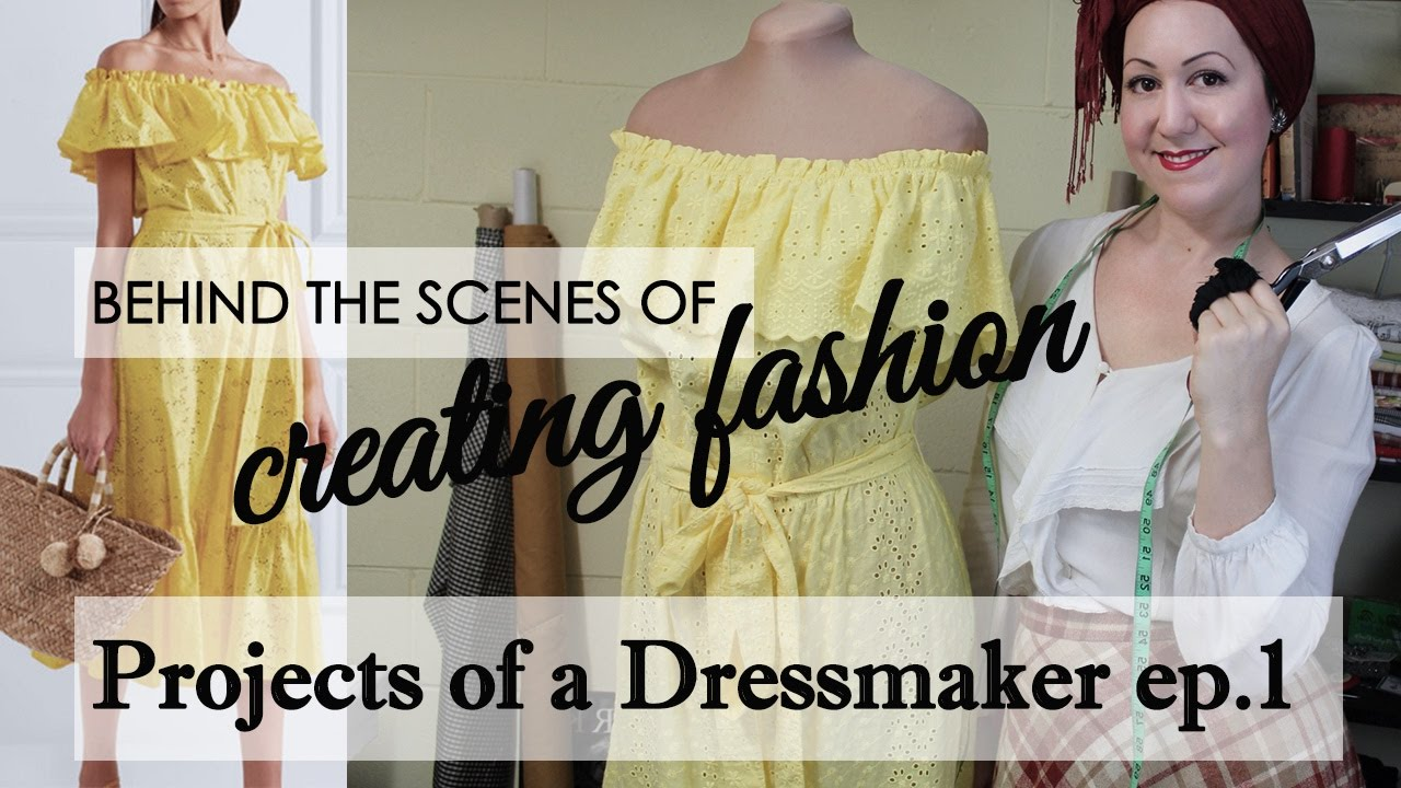 65499ab3669 Projects of a dressmaker- ep 1 Making an off the shoulder sundress for a  client