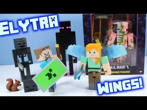 Minecraft Survival Mode Toys Alex With Elytra Wings Steve With Shield Review Mattel