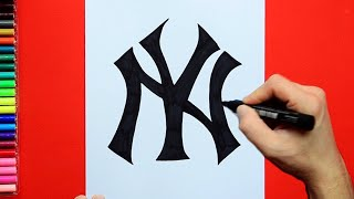 How to draw and color the New York Yankees Logo - MLB Team Series