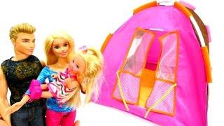 Пикник в лесу: Ставим палатку с Барби и Кеном. Мультики