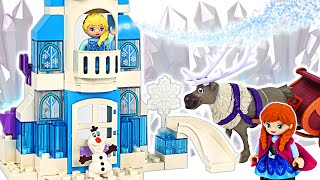 LEGO Duplo Frozen let's make a nice castle with Elsa & Anna!   PinkyPopTOY