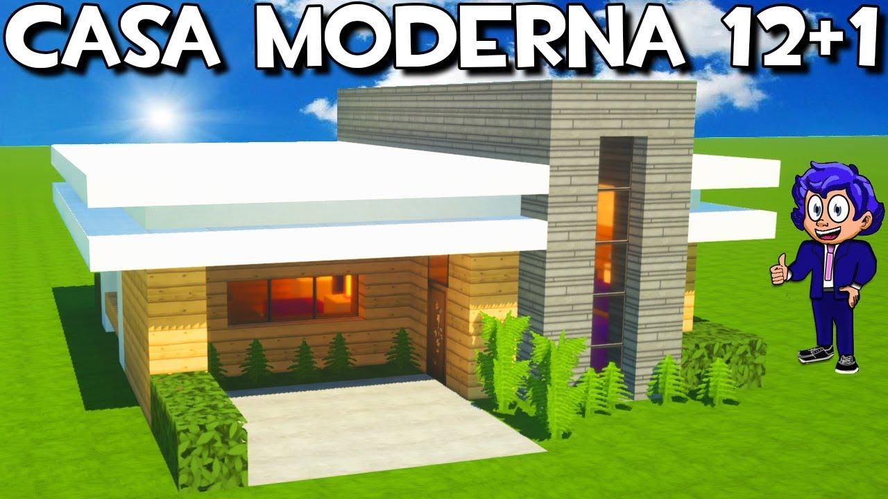 Casa moderna 12 1 en minecraft tutorial f cil youtube for Casa moderna 8 en minecraft mirote y blancana