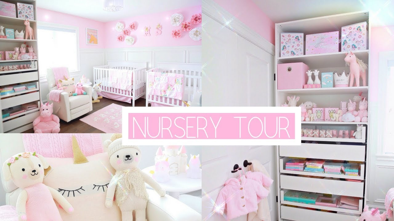 TWIN GIRLS NURSERY TOUR!👼🏻👼🏻🦄-SLMissGlamVlogs💕 - YouTube
