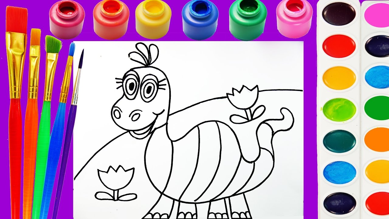 dinosaur coloring page for kids to learn to color and paint youtube