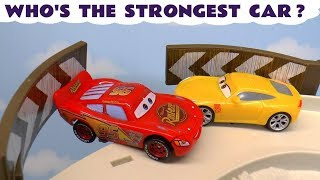 Disney Cars Lightning Mcqueen Strongest Car Race With Hot Wheels Superhero Cars And Funlings Tt4u